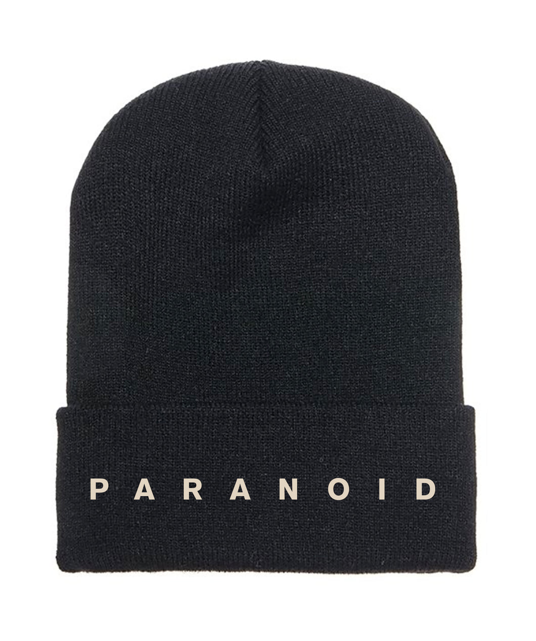 PARANOID - Embroidered Black Beanie