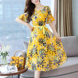 Floral Dress High Waist Slim Fit