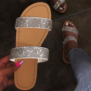 Diamond women slippers summer crystal Outdoor beach sandals woman shoes