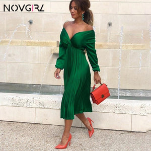 Novgirl Fit And Flare Pleated Satin Dress