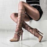 Gladiator Woman Pumps Rivet Lace Up High Vamp Mid Calf Strappy Shoes