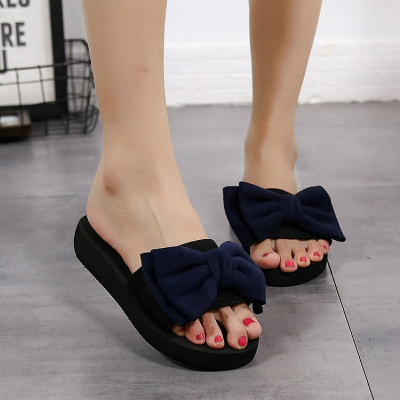 summer ladies bow sandals slippers indoor outdoor flip flops beach shoes