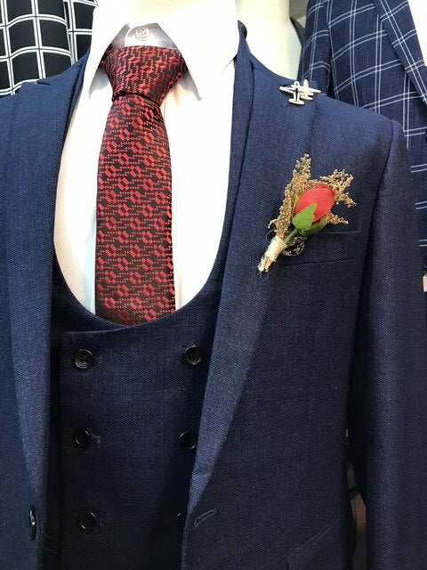 Navy Blue Floral Men Wedding 3 Pieces Suits