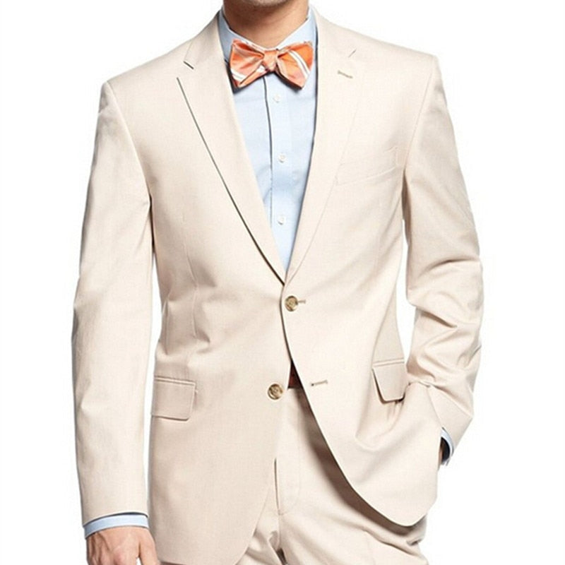 Beige Mens Suits Groomsmen groom men suit Notch Lapel Groom