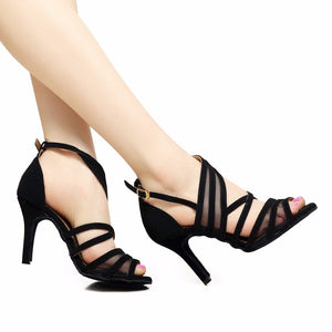 Women Ballroom Latin Dance Shoes Black Salsa Shoes High heels 6/7.5/8.5cm