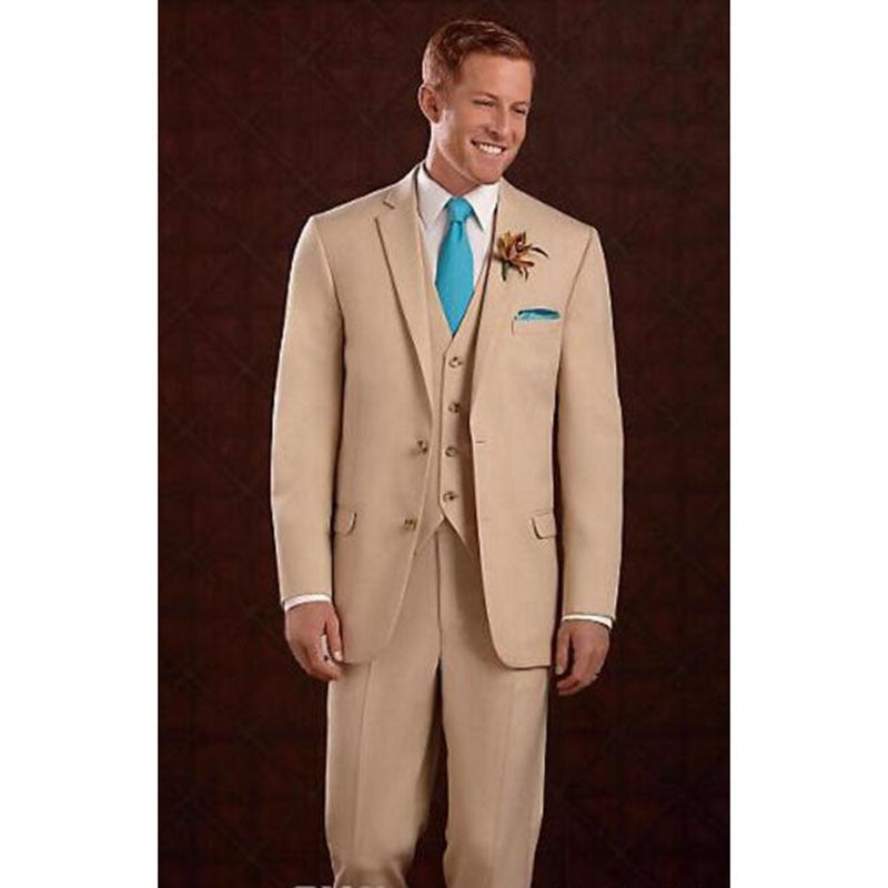 Senior two buttons pointed khaki groom dress wedding man suits