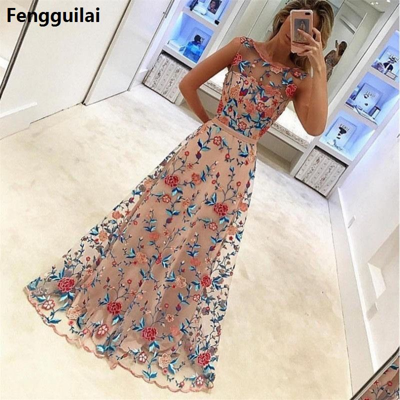Women Long Prom Floral Formal Evening Party Dress