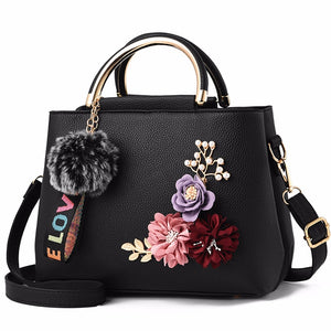 Leather Flower Shell Handbag