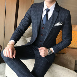 New Men's Fashion Boutique Plaid Wedding Dress Suit