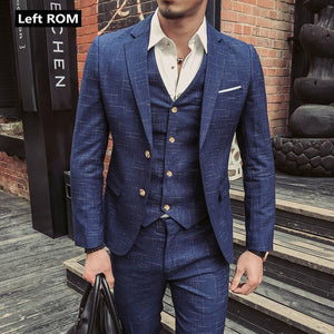 New Fashion Boutique Men's Plaid Formal Business Suit