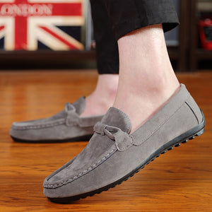 Sprin Men  Fashion Flats Loafers Slip-on Flock Casual Shoes