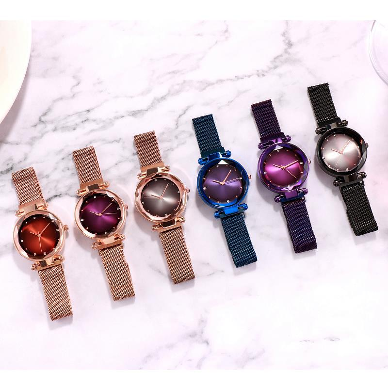 Rose Gold Women Watches Starry Sky Magnetic Female Wristwatch