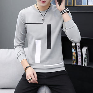 Spring and Autumn New men's printed long-sleeved