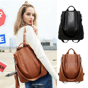 Female anti-theft backpack classic PU leather solid color backpack