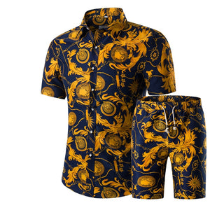 Fashion Men Shirts+Shorts Set Summer