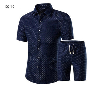 New Fashion Men Shirts+Shorts Set Summer