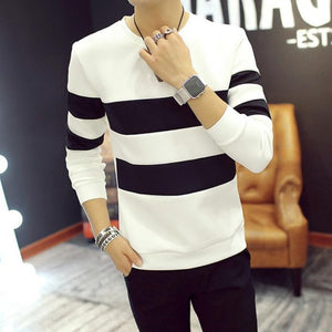 Spring Autumn Men Printed Long-sleeved T-shirt Teen Round Neck