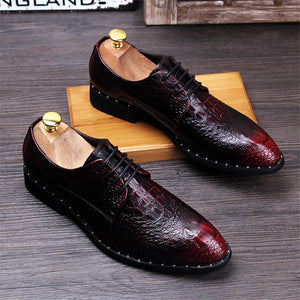 Fashion Men's Crocodile Grain Leather Dress Shoes