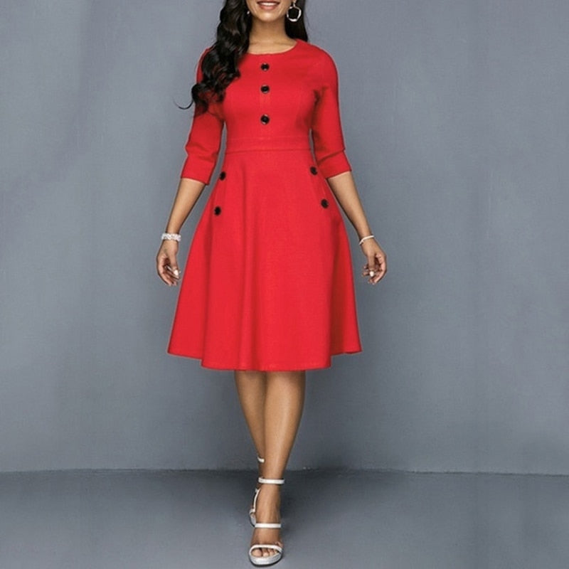 3/4 Sleeve A-Line Retro Waist Shaping Fashion Knee Length Dress