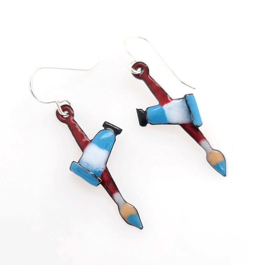 paint brush earrings for artist