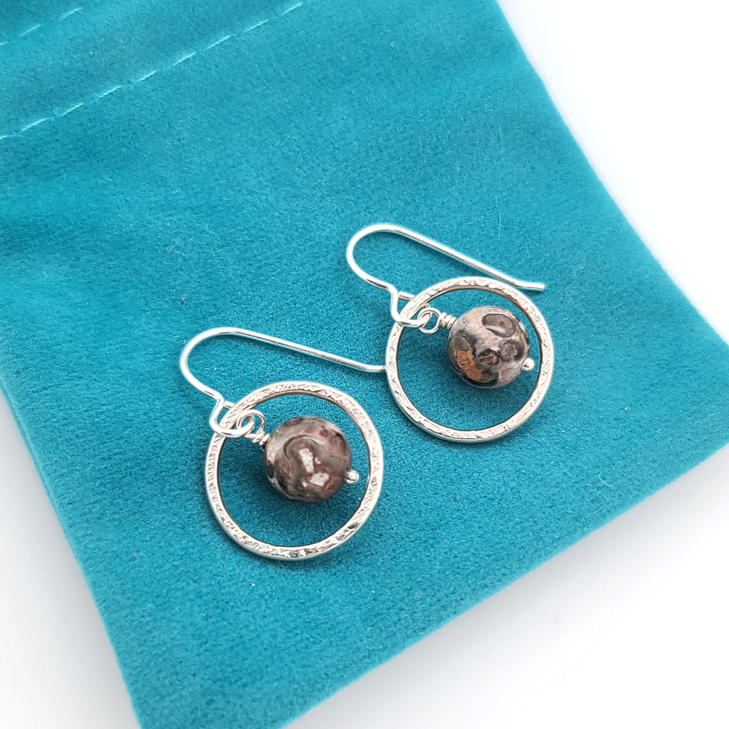 grey and brown leopard jasper earrings