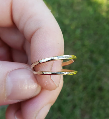 Thin Hammered Gold Stacking Ring, Solid 14k yellow gold ring