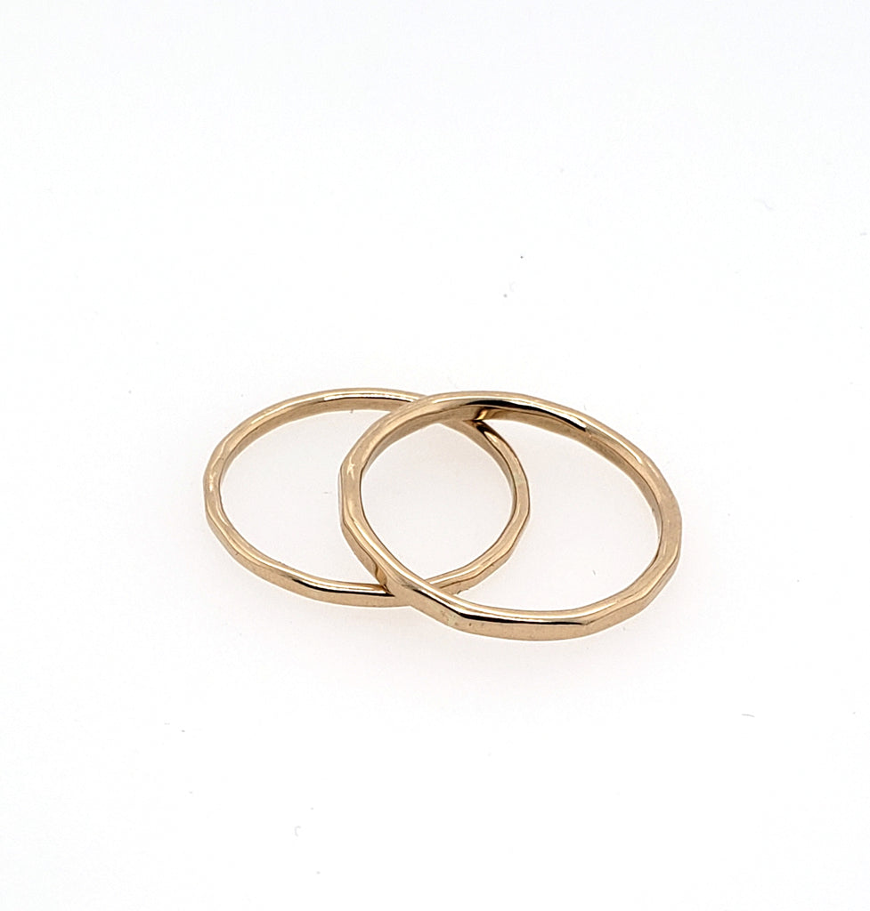 textured yellow gold rings for stacking