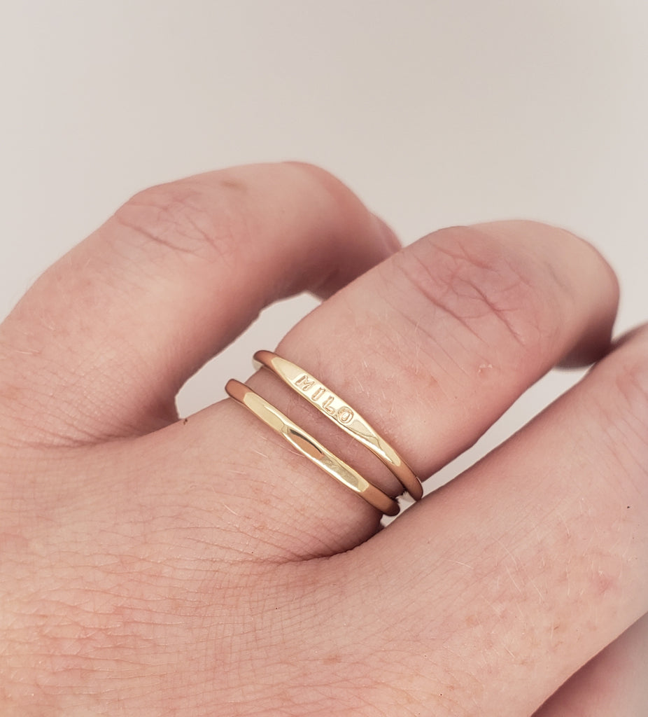 mother's day gift and push gift, gold rings with child's name