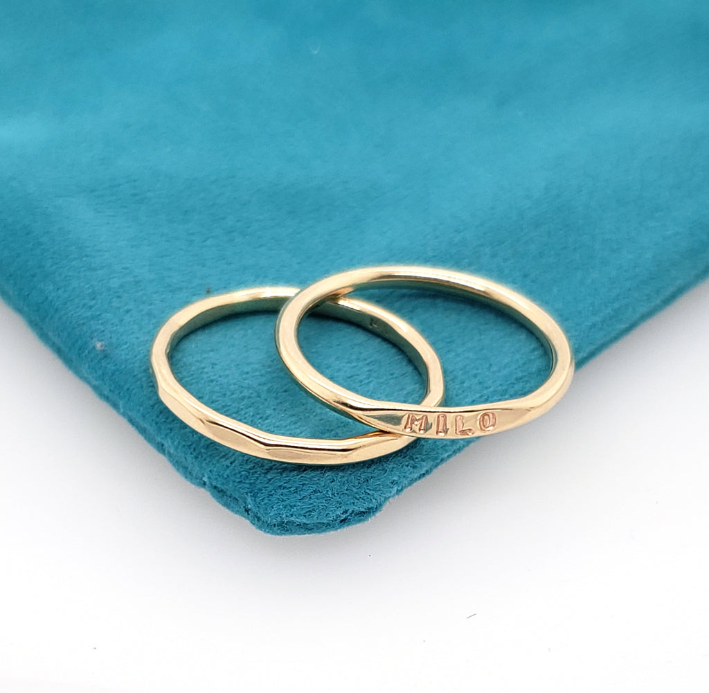 solid yellow gold rings for stacking, thin rings