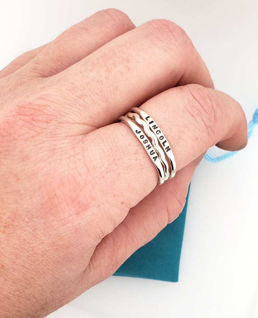 stacking ring set with wiggle ring and name rings