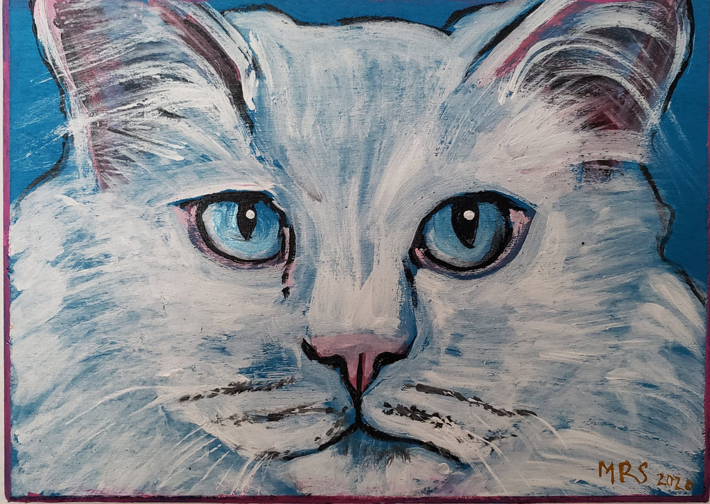 white long hair cat painting by Michele Roldan-Shaw