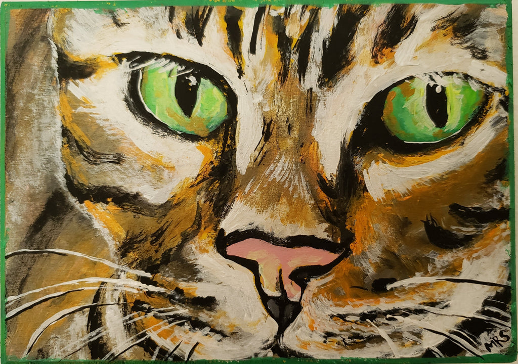 folk art tiger cat painting