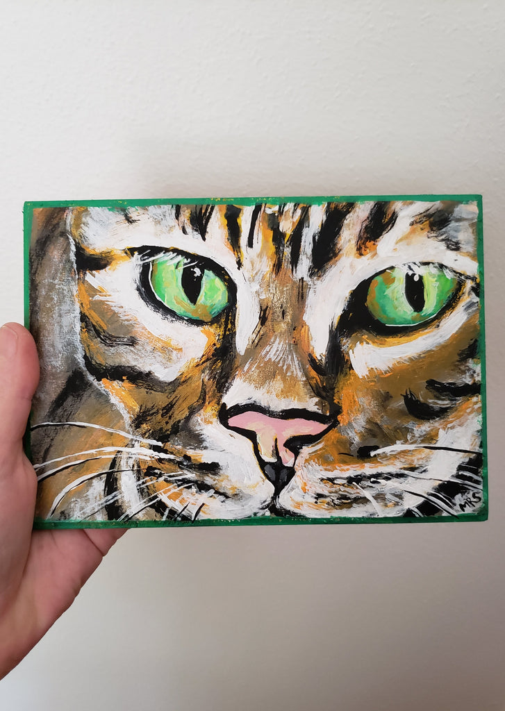 vibrant cat painting tiger art