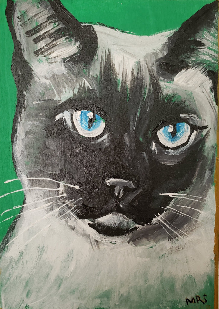 Siamese cat painting with green