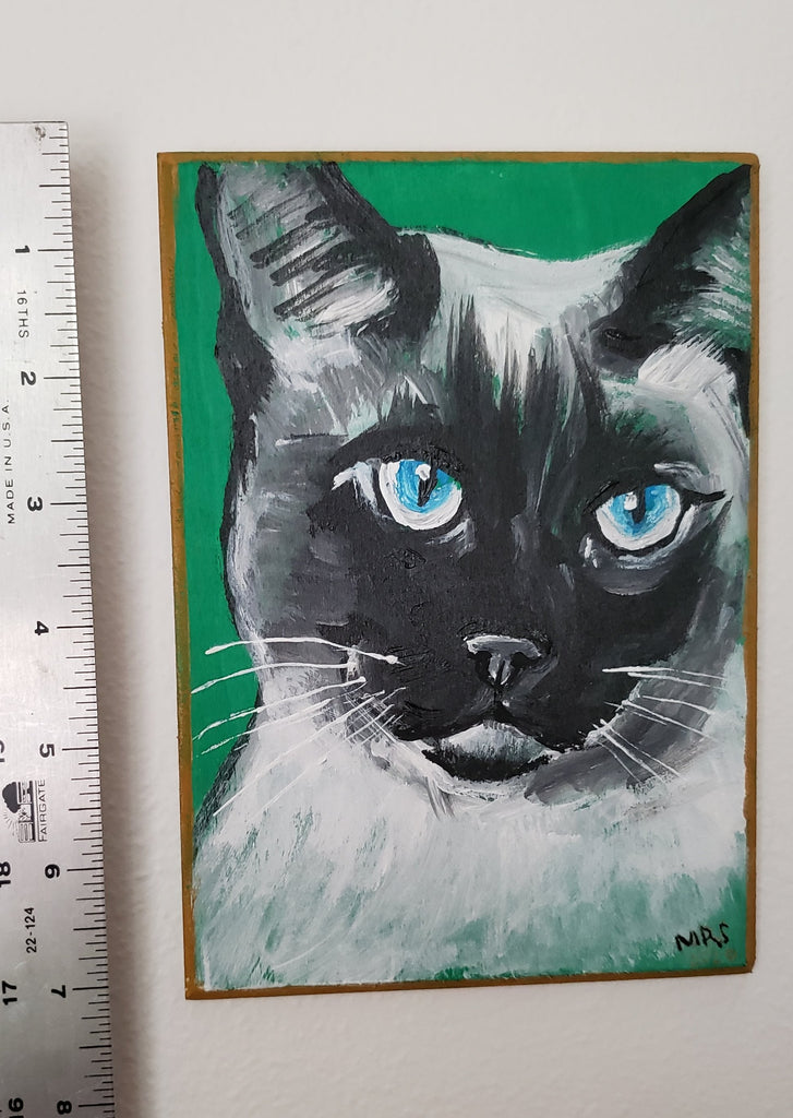 folk art painting of a cat, original art