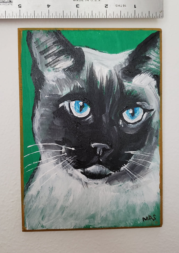 cat with blue eyes colorful painting