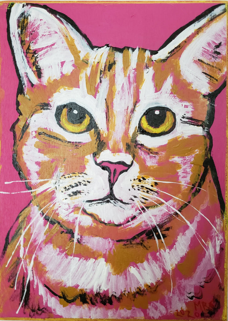 pink and orange ginger cat painting by Michele Roldan-Shaw