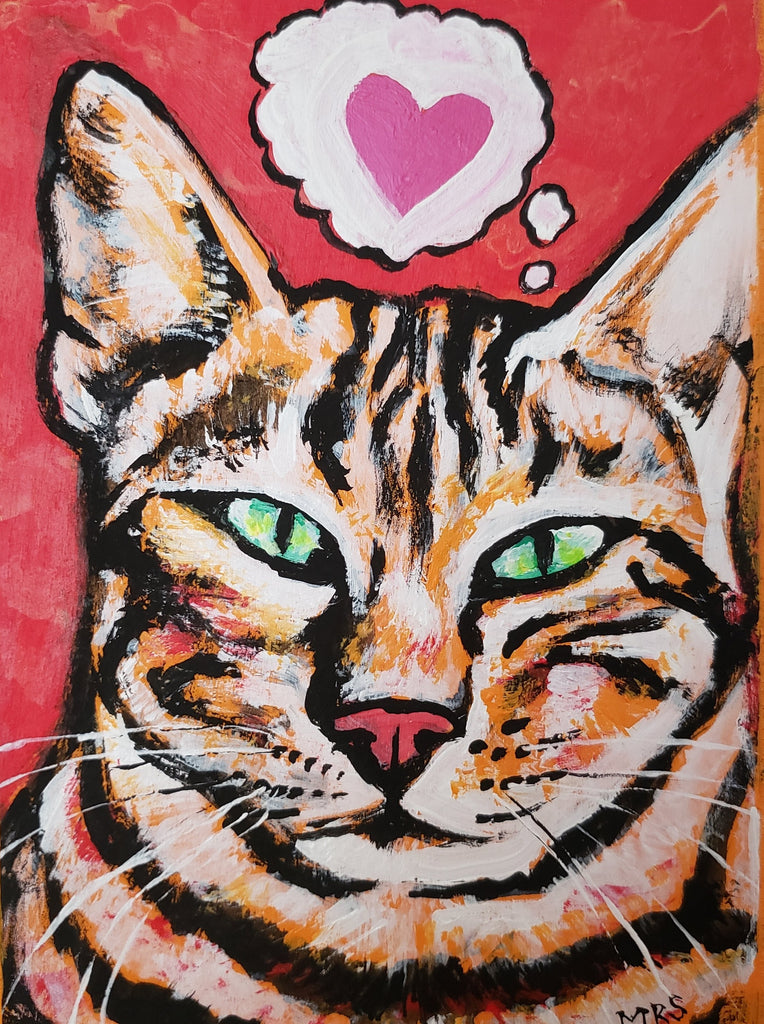 folk art painting of a cat red and pink