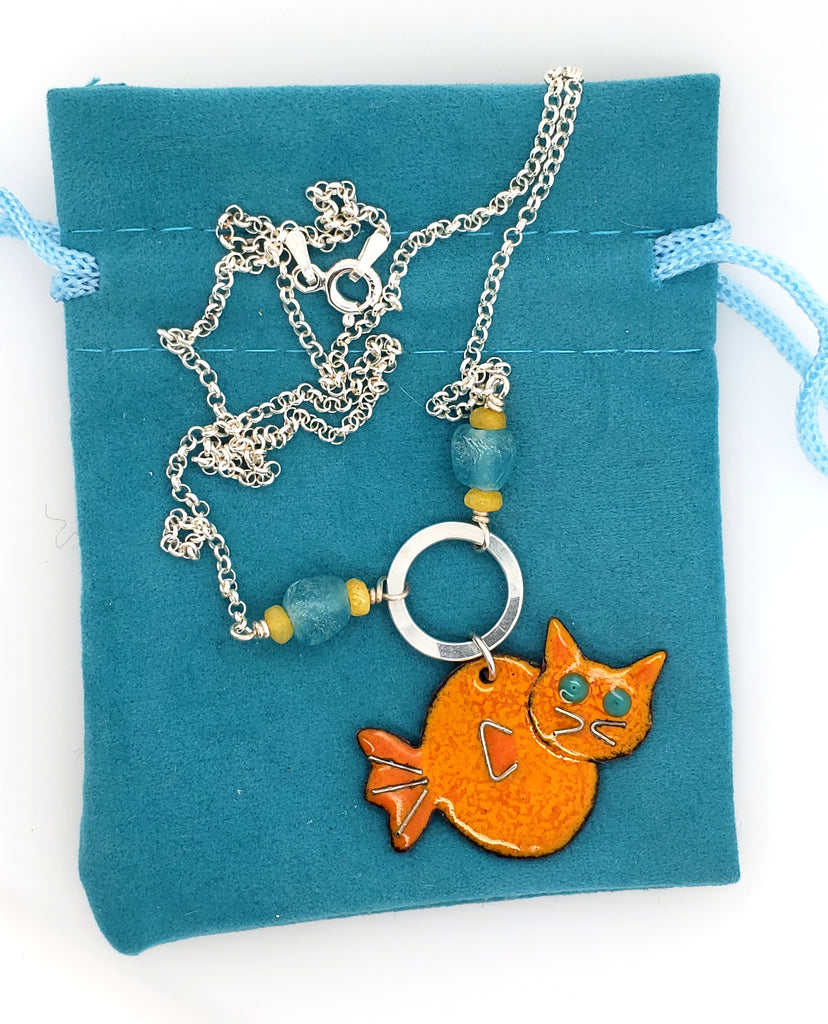 cat fish necklace made by Kathryn Riechert