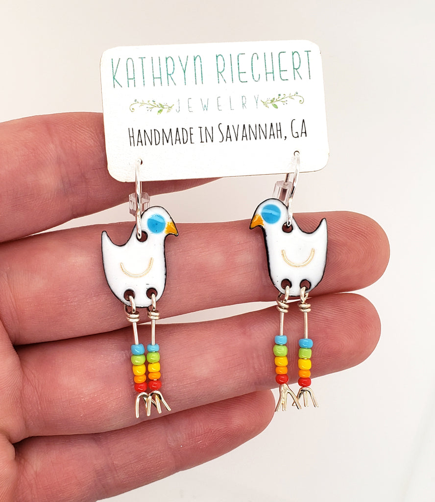 colorful bird earrings