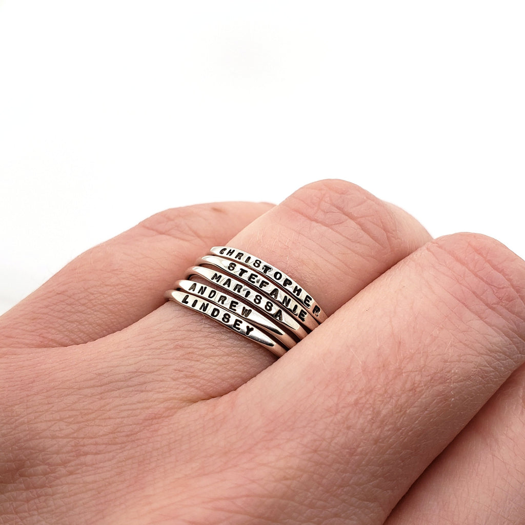 tiny stacking name rings