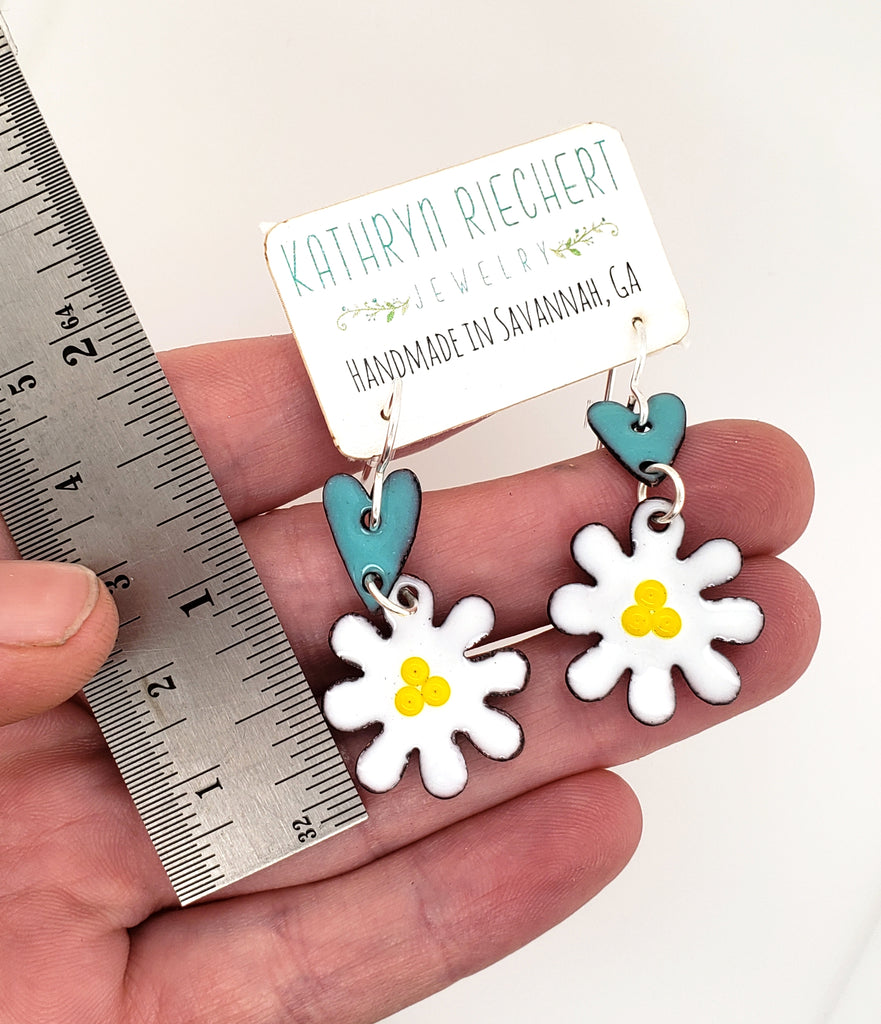 enameled heart and flower earrings