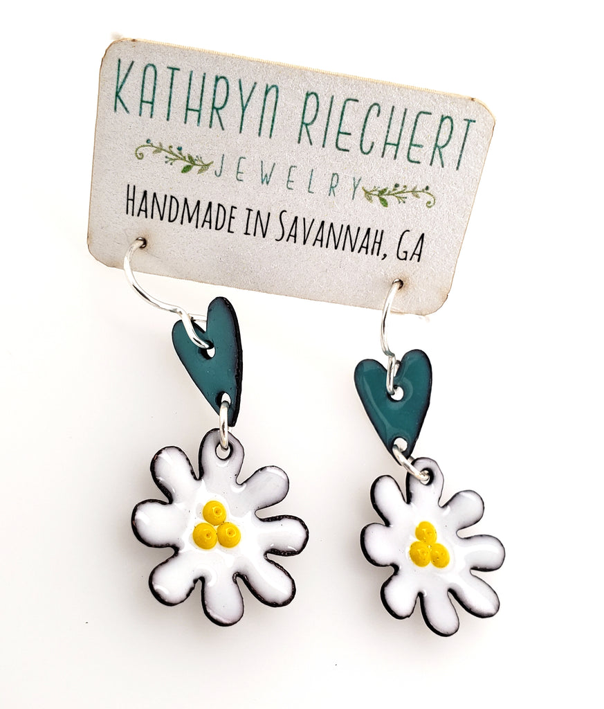 handmade enamel earrings by Kathryn Riechert