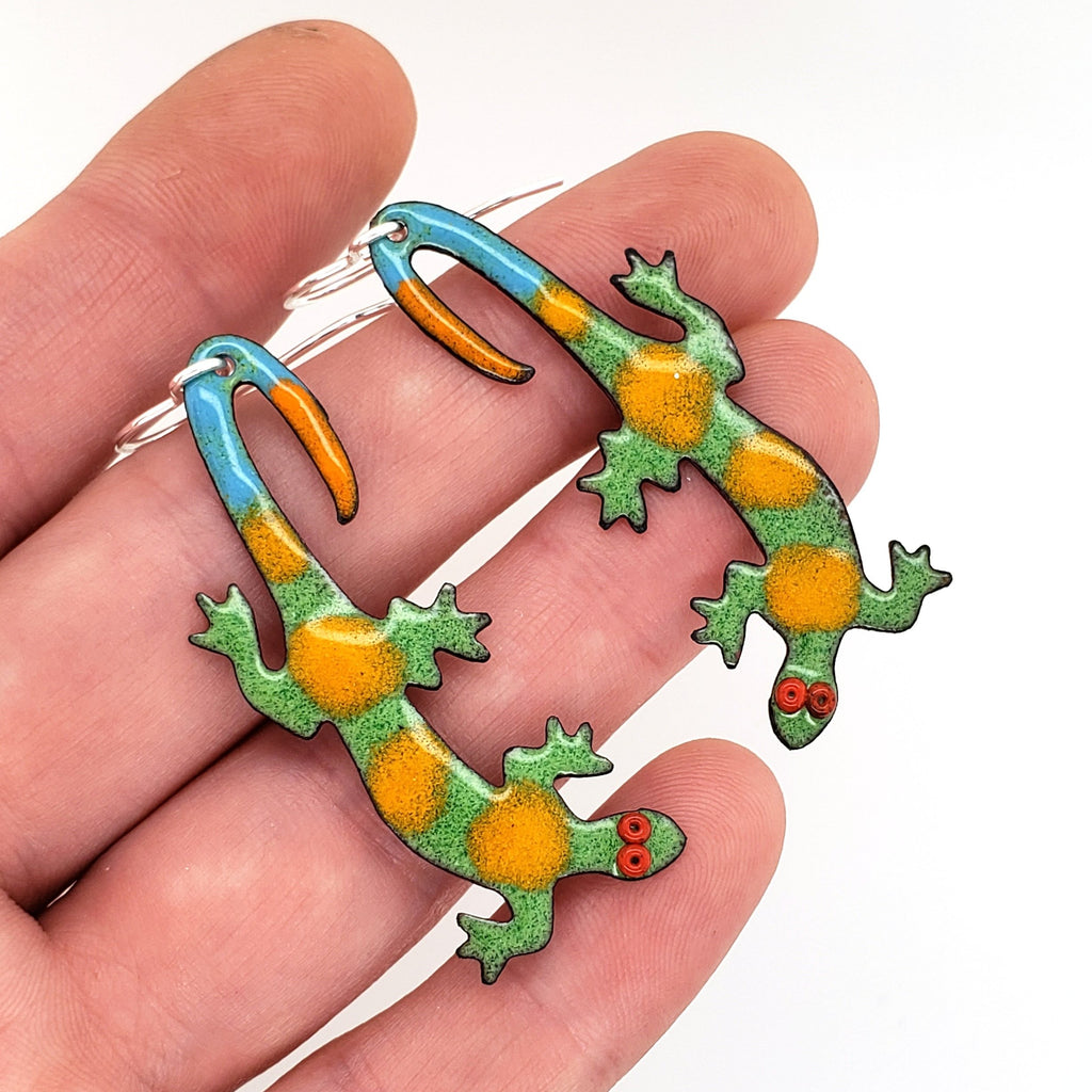 colorful lizard earrings