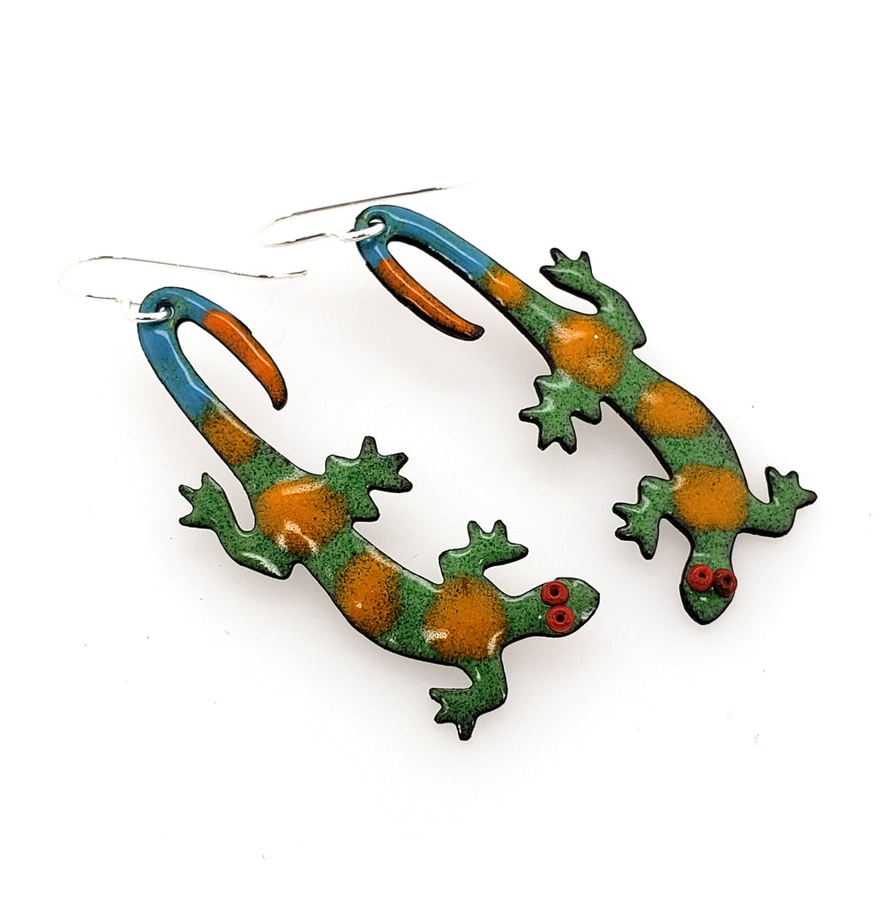 enameled lizard earrings by Kathryn Riechert