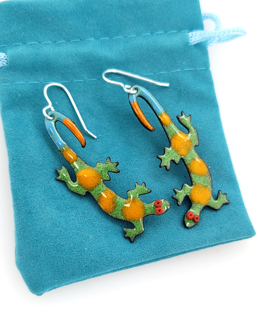 orange and green lizard jewelry