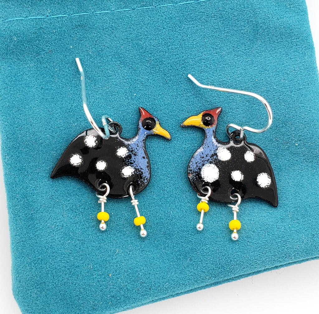 enameled bird earrings by Kathryn Riechert