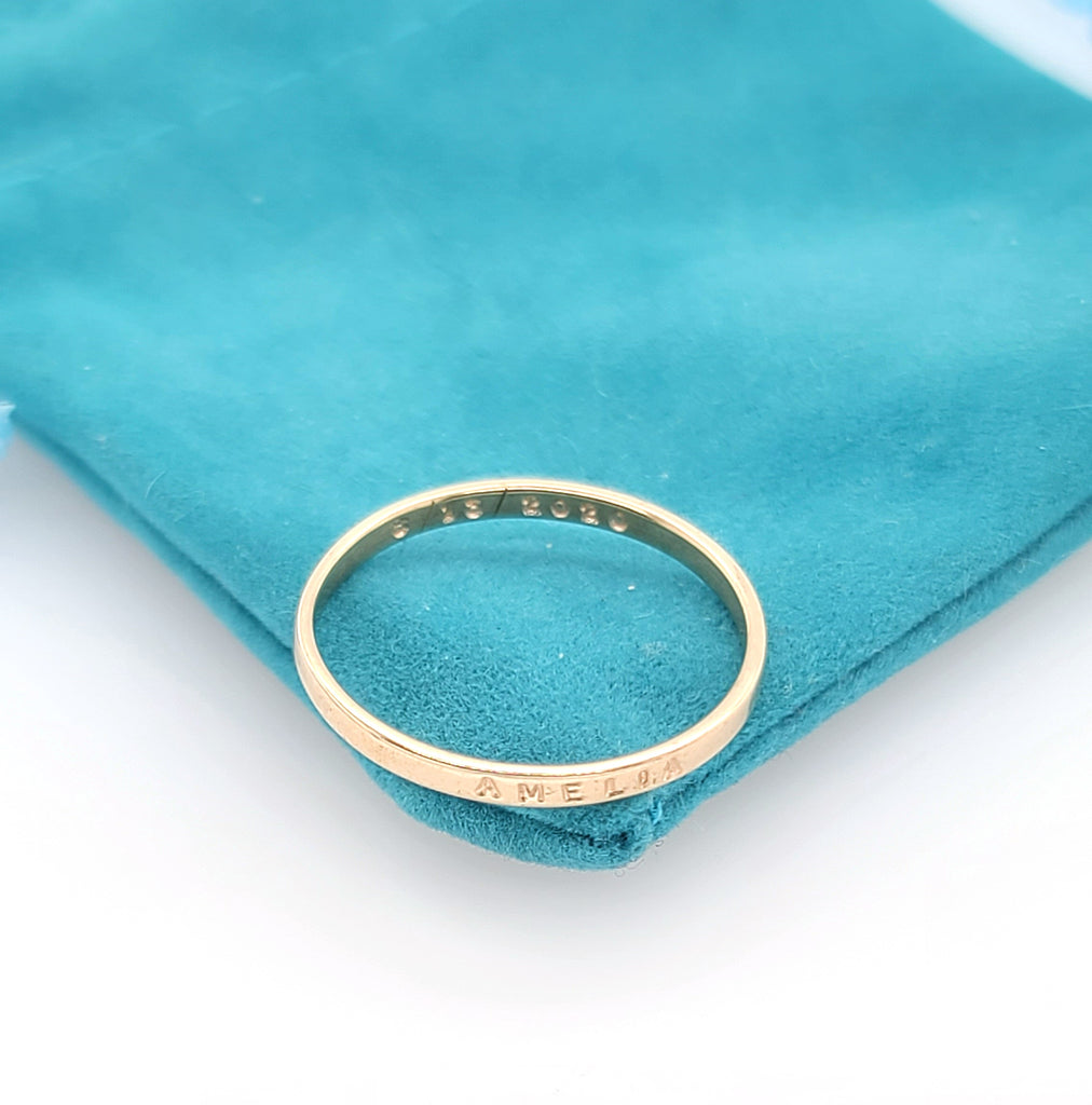 handstamped gold ring