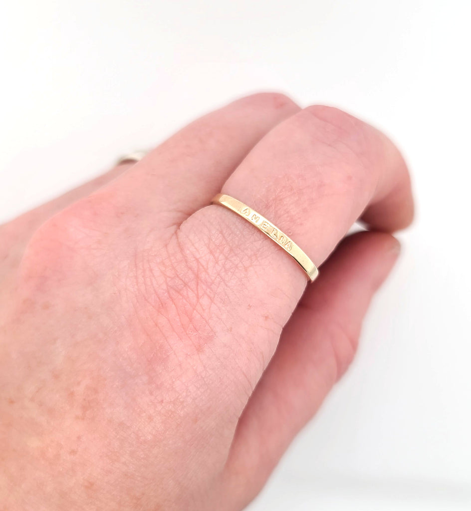 gold posey ring with message