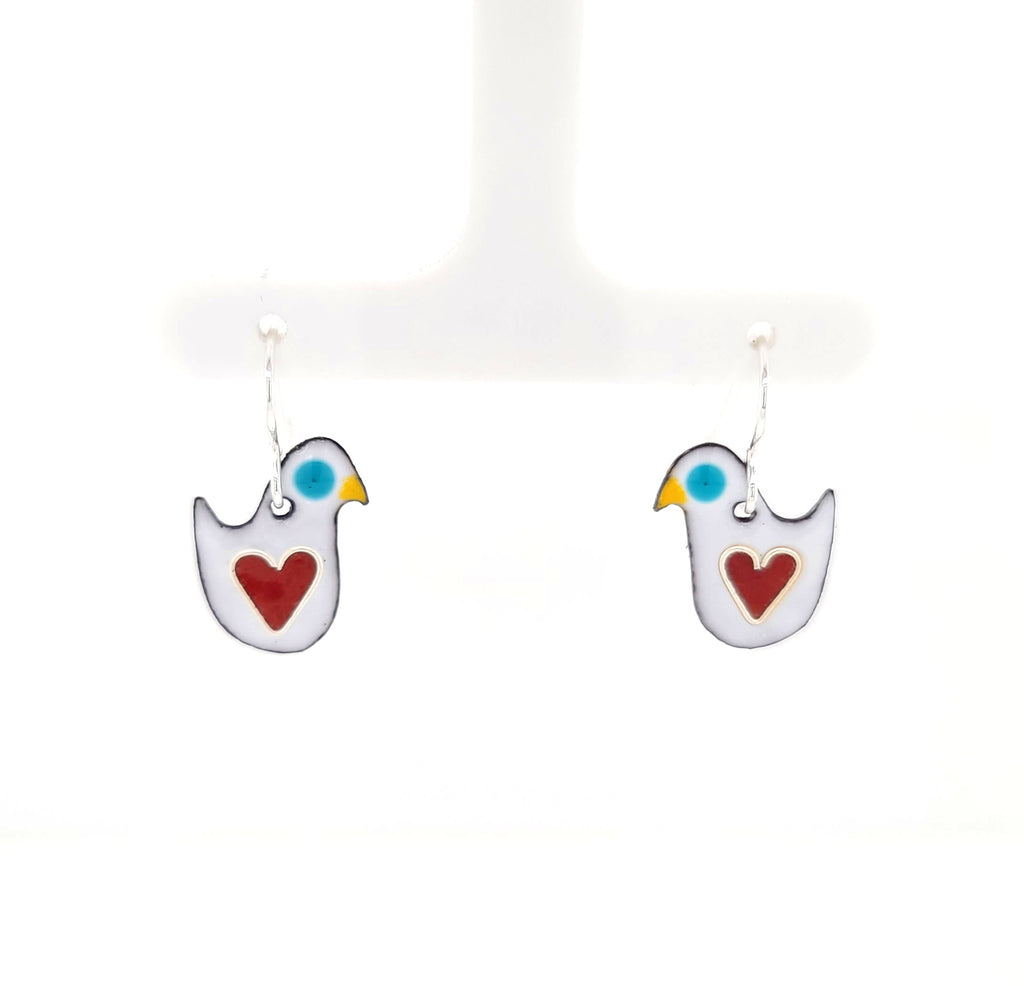 enameled bird earrings with hearts